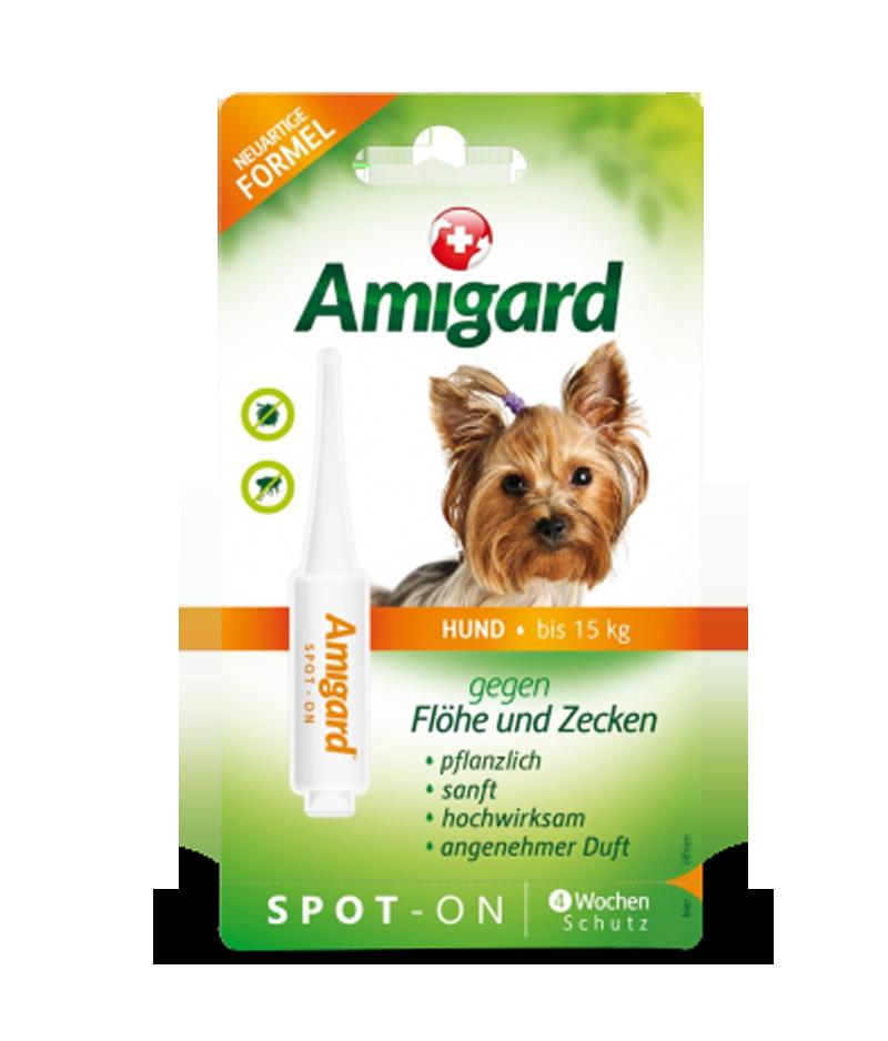 Spot-On Zeckenschutzmittel für Hunde bis 15kg für eine Anwendung hergestellt von Amigard