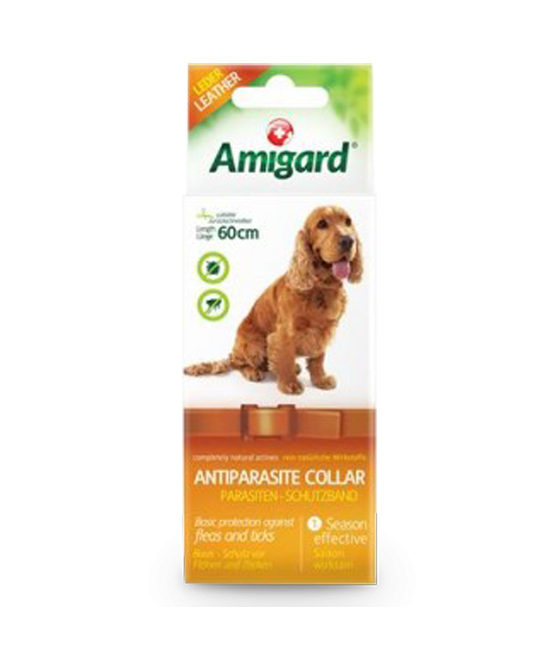 Parasiten-Schutzband für Hunde aus rein natürlichen Inhaltsstoffen von Amigard