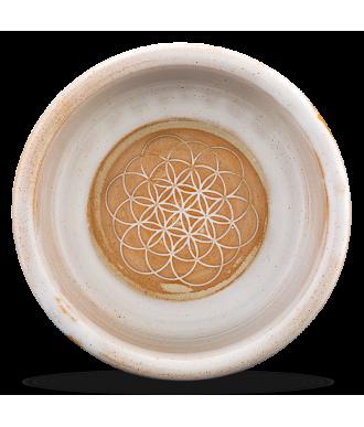 Napf aus Keramik und Motiv Blume des Lebens am Boden