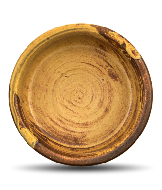 Hundenapf & Katzennapf aus Keramik in gelb braun mit hohem Rand, rutschfest
