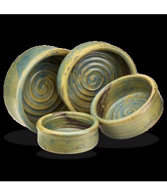 Keramiknapf Kraftspirale in grün blau von naftie